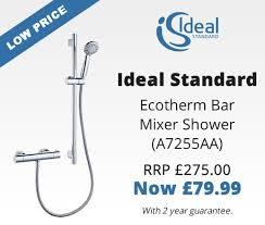 ideal standard ecotherm bar mixer shower chrome a7255aa mira response 22mm shower head holder