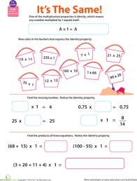 Properties of Multiplication: Identity | Worksheet | Education.comThird Grade Multiplication Worksheets: Properties of Multiplication: Identity