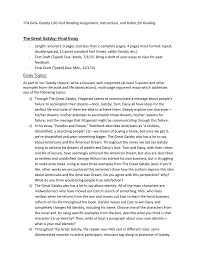 the great gatsby final essay yta girls english lit website