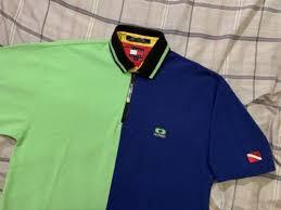 vintage tommy hilfiger color block rugby zip polo shirt size medium scuba surf