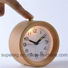 china small round silent table snooze beech wood alarm clock with nightlight china clock wooden table clock