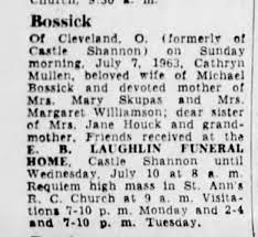 Obituary for Cathryn Mullen Bossick who died 7 Jul 1963. - Newspapers.com