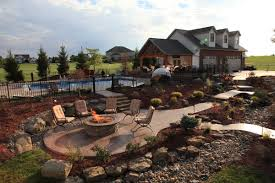 patio with fire pit. Stamped Concrete Firepit Patio And Walkways With Fire Pit