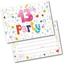 13th Party Invitations 13th Birthday Party Invitations Age 13 Female Girls Childrens Pack Of 20 Invites