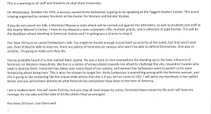 utah state university threatened school shooting over  utah state university threatened school shooting over sarkeesian appearance updated
