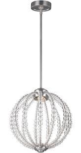 feiss oberlin small satin nickel led orb pendant light rondure crystal beads