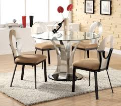 image of glass round contemporary dining table