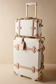 vintage luggage. ivory sweetheart luggage | bhldn vintage