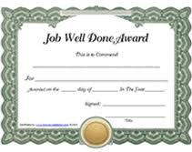 Printable Job Well Done Award Certificates Templates