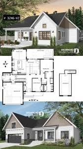 Drummond House Plans     One Storey Ranch House Plan With Garage, Large  Kitchen With Island And Open To Living Room And Backyard