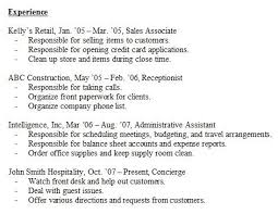 Resume Experience Examples Cool Resume Experience Sample In Previous Work Experience Examples