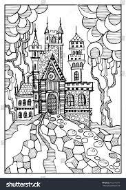 Fantasy Landscape Fairy Tale Castle Old Stock Illustration