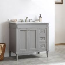 Bathroom Single Vanity Catania Grey White Carrara Marble Top 36 Inch Single Vanity By