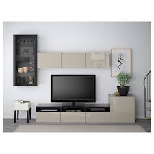 BEST TV storage combination/glass doors - walnut effect light gray  Hallstavik/blue-green clear glass, drawer runner, push-open - IKEA