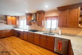All Wood Cinnamon Cabinets Oak Wood Floor Kitchen Remodel
