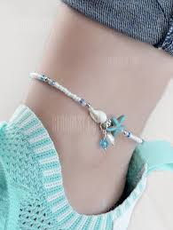 Beads <b>Starfish Shell</b> Faux <b>Pearl</b> Decoration Anklets | Gearbest Mobile