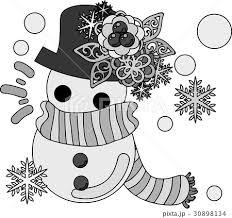 冬と女の子の可愛いイラスト 可愛い雪だるま のイラスト素材 30898134