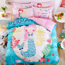 elegant girls pink white light blue and c red mermaid print princess themed pastel style 100 cotton twin full size bedding sets