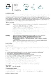 Culinary Resume Fascinating Sample Chef Resume Template For Culinary Examples Arts
