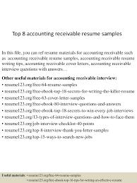 accounts receivable resume samples cipanewsletter top8accountingreceivableresumesamples 150527120616 lva1 app6892 thumbnail 4 jpg cb u003d1432728418 from slideshare net