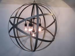 modern industrial farmhouse 30 inch orb chandelier ceiling light sphere wine barrel ring 6 light edison bulbs black