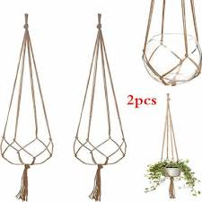 pack of 2 indoor outdoor 47inch handmade macrame jute plant hanger plant holder