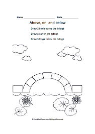 Math Positional Words Worksheets for Kindergarten, Positional Language