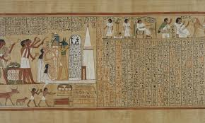 ancient ian hieroglyphic texts translated into english for part of a panel from a version of the book of the dead photo