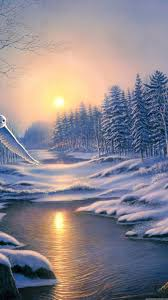 winter landscape painting scenery