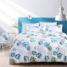 past style white bedding set queen reactive printing palm leaves pattern bed clothes king size home beddings and bed sets queen size bedding sets lime