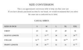 Polo Shirt Size Conversion Chart Size Guide Brumano Pakistan