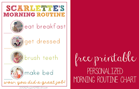 Free Morning Routine Chart Pictures Editable Morning Routine Chart For Adults Www