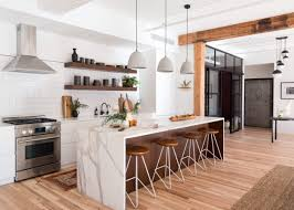 open kitchen shelves instead of cabinets bright industrial rustic kitchen with wood beams and open