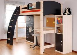 white loft bed with desk and futon