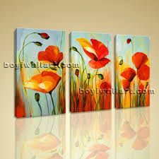poppy wall art stretched canvas prints abstract flowers picture