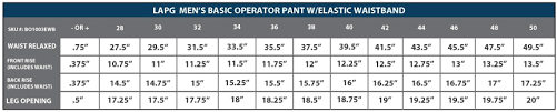 Lapg Mens Basic Operator Pant W Elastic Waistband
