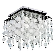 glow lighting cityscape capiz shell and crystal chrome 14 inch four light flush mount