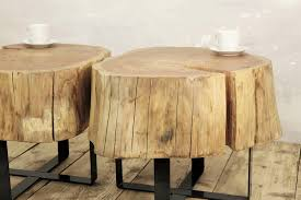 twin stump coffee table on metal base slab coffee table natural top baumstamm tisch sgabello ceppo di legno