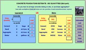 Concrete Calculation Chart Concrete Mix Design Excel Calculator Civilengineeringbible Com