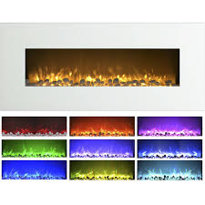 northwest 50 inch wall mounted electric fireplace with color changing led white com