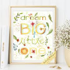 nursery e wall art print decor dream big little one e art nursery decor print watercolor