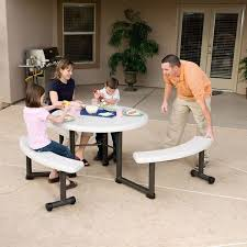 lifetime 260205 44 round almond plastic picnic table with swing out benches