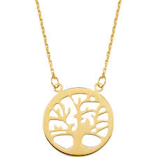 14k yellow gold side by side family tree necklace