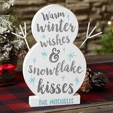winter wishes snowflake kisses personalized wooden snowman 22853