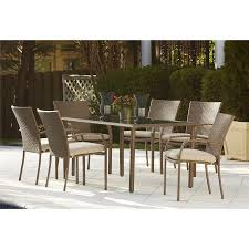 woven metal furniture. Cosco Outdoor 7-Piece Lakewood Ranch Steel Woven Wicker Patio Dining Set With Cushions, Metal Furniture