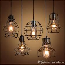 new arrivals retro iron pendant light loft lamps e27 birdcage led industrial pendant lights hanging lamp fixture bar cafe restaurant double pendant