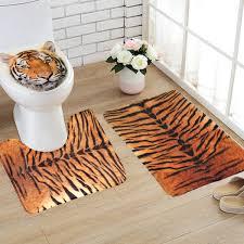 flannel tiger pattern theme toilet rug bathroom contour mat non slip mat lid toilet cove 3pcs