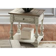 decoration creek antique white and end table round