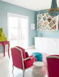 red and turquoise playroom design