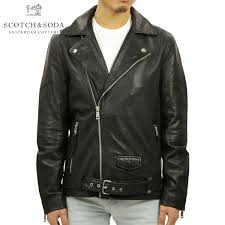 scotch whiskey and soda scotch soda regular men outer leatherette jacket leather biker